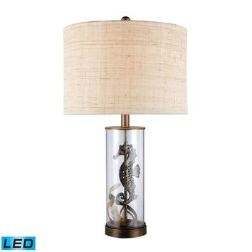 Largo LED Table Lamp In Bronze And Clear Glass With Natural Linen Shade Bronze,Clear