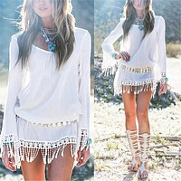 2017 Summer Women Boho Tassel Lace Dress Sexy Crochet Tunic Beach Party Dresses Black White Chiffion Vestidos Plus Size