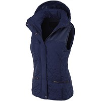 Faux Fur Quilted Puffer Jacket Vest with Detachable Hoodie