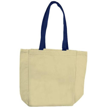 Cotton Woven Bags - Natural/Navy