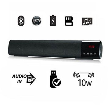 Bluetooth Speaker, Suliko 10W Bluetooth sounds bar with Clock, FM Radio, 1