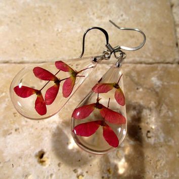 Maple seed earrings, Maple pendant, Leaf jewelry, Plant jewellery, woodland, nature, red,