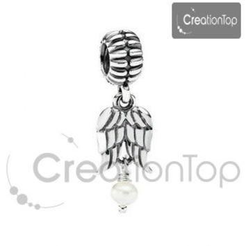 Charm for any Pandora bracelet, angel wing dangle bead with pearl