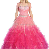 BallGown Sweetheart Tulle Floor-length Tiered Quinceanera Dress at sweetquinceaneradress.com