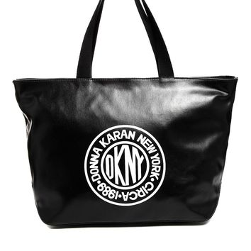 DKNY Active Cotton Shopper Bag with Leather Look Trim