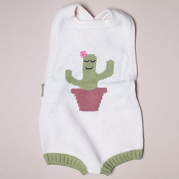Estella White Organic Cotton Sleeveless Baby Romper - Cactus 0–3M