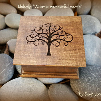 music box, wooden music box, music boxes, tree of life, Simplycoolgifts, what a wonderful world, last minute gift, music box shop,