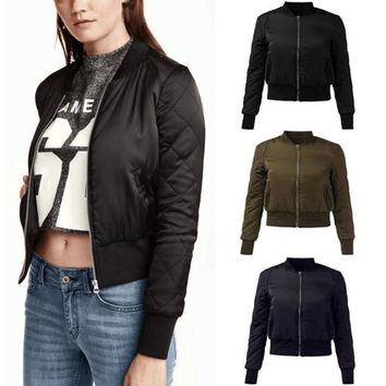 ZANZEA 2017 Women Winter Warm Bomber Jacket Ladies Slim Fit Zip Up Basic Coat Casual Solid Cotton Padded Outwear