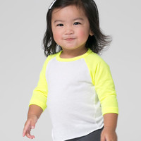 White & Neon Yellow Raglan Tee - Infant