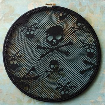 Large Black Skull Earring Hanger And Goth And Rocker Wall Decor