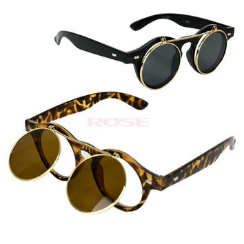 Women's Mens Retro Style Flip Up Round Steampunk Sunglasses 8102 = 1745378244