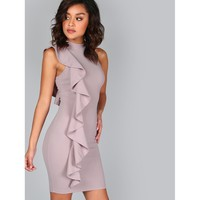 One Sided Exaggerated Frill Dress Purple