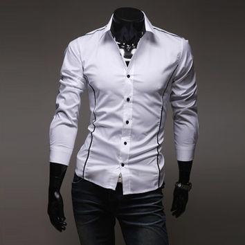 Long Sleeve Slim Men Casual Shirt [6542574979]