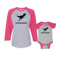 We Match! Mamasaurus & Babysaurus Ladies Baseball T-Shirt & Bodysuit Set (24 Months Bodysuit, Ladies Small, Vintage Sport Grey/Pink/Royal)