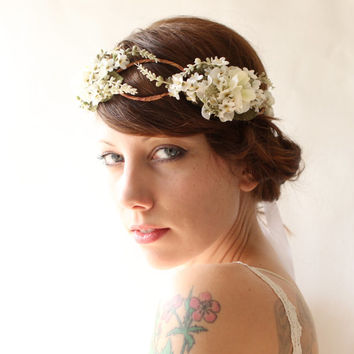 Woodland bridal hair crown, Flower crown, boho wedding head piece, white flower crown, Bridal headpiece - SONATA