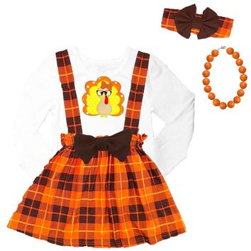 Plaid Turkey Outfit Glasses Orange Brown Top And Jumper