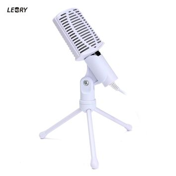 LEORY 3.5mm Audio Condenser Microphone Mic Studio Sound Recording Rotatable Wired Microfone With Stand For PC Laptop Microphone