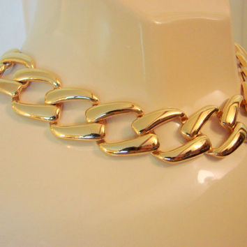 Vintage Napier Chunky Goldtone Link Chain Necklace