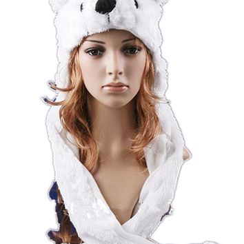 Hot sale Fashion Cartoon animal Lovely cute fluffy Polar Bear Hat cap with mitten Muffler,white/pink/brown Free