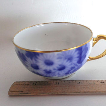 Vintage Okura China Tea/ Coffee Cup Blue White Floral Design 1960s No Saucer