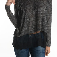 Knit Sweater Tunic With Sheer Lace Trim