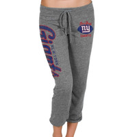 New York Giants Ladies Football Script Tri-Blend Cropped Pants - Gray
