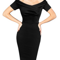 Black Short Sleeve Off the Shoulder Midi Pencil Office Work Dress