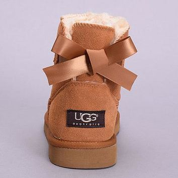 One-nice™ UGG Women Fashion Bow Leather Boots In Tube Boots Shoes