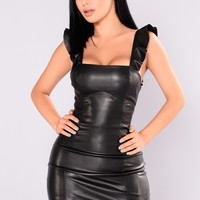 Uh Huh Honey Faux Leather Dress - Black
