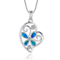 Sterling Silver Butterfly Flower Heart W. Blue Green Fire Opal Pendant Necklace
