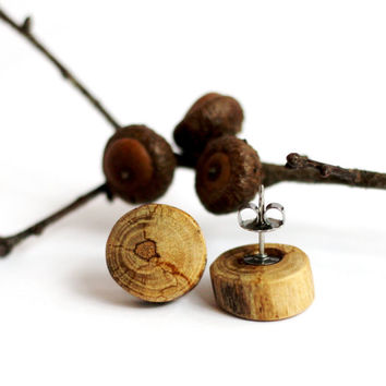 Post Earrings Reclaimed Wood Hickory Tree Branch Studs Eco-Friendly Sustainable Eco-Friendly Wooden Jewelry by Hendywood