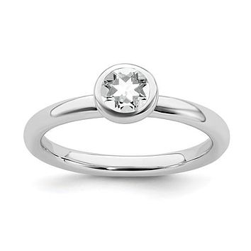 Sterling Silver Stackable Expressions Low 5mm Round White Topaz Ring