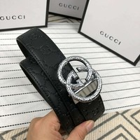 GUCCI Tide brand wild men's belt double G buckle full logo printing embossed belt belt silver