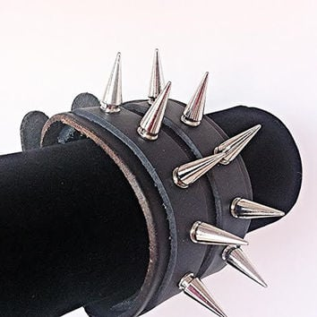Spiked Leather Cuff Double Strap Bracelet - Genuine Leather