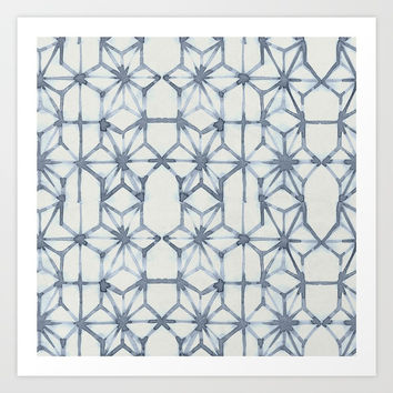 Simply Shibori Stars in Indigo Blue on Lunar Gray Art Print by Simple Luxury Mix and Match Sets