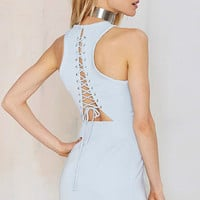 Sky Blue Sleeveless Lace Up Back Dress