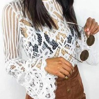 White Lace Long Flared Sleeve Crop Top