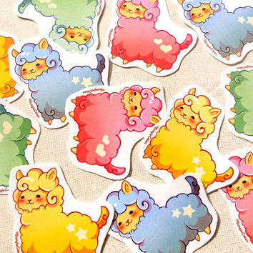 Kawaii Alpaca Stickers Pack of 12 - Cute Pastel Animal Llama Planner Stickers, Christmas Stickers, Holiday Stickers, Xmas Gift, Party Favors