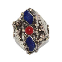 Boho Adjustable Lapis Coral ring