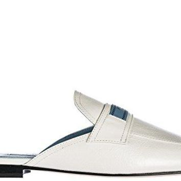 Prada Women's Genuine Leather Slippers Sandals White
