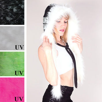 TRIXY XCHANGE - Womens Festival Clothing White Pixie Hood Girls Scoodie Black Hoodie Elf Clothing Black Fleece Hat Gay Pride EDC Chicago