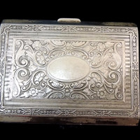 Antique Victorian Calling Card Case Ornate Engravings