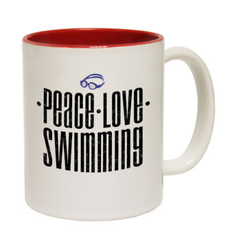123t USA Peace Love Swimming Funny Mug