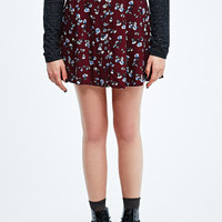 Pins & Needles Floral Button-Through Flippy Skirt in Maroon - Urban Outfitters
