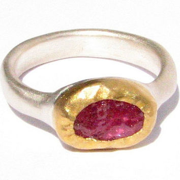 Rough Ruby Ring - 24k Solid Gold and Sterling Ring - Gemstone Ring - Stacking Ring .