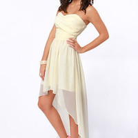 Ruched Reverie Cream Strapless Dress