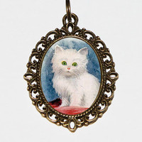 White Kitten Necklace, Cat Jewelry, Oval Pendant