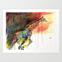 Galloping Giraffe Art Print by Julie Raven
