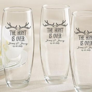 Personalized 9 oz. Stemless Champagne Glass - The Hunt Is Over