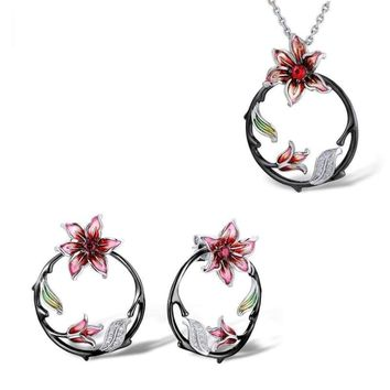 Tree Branch Flower Earrings Pendant Set 925 Sterling Silver Fashion HANDMADE Enamel Jewelry Set